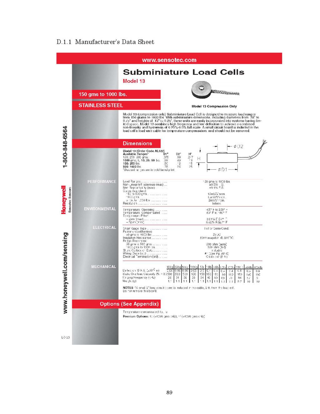 89 D.1.1 Manufacturer's Data Sheet