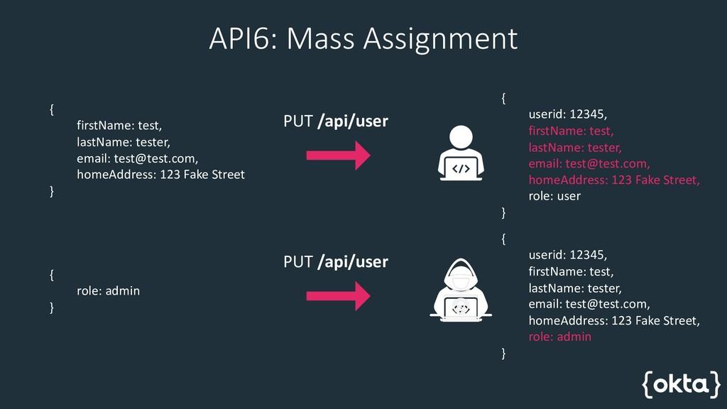 API6: Mass Assignment { firstName: test, lastNa...