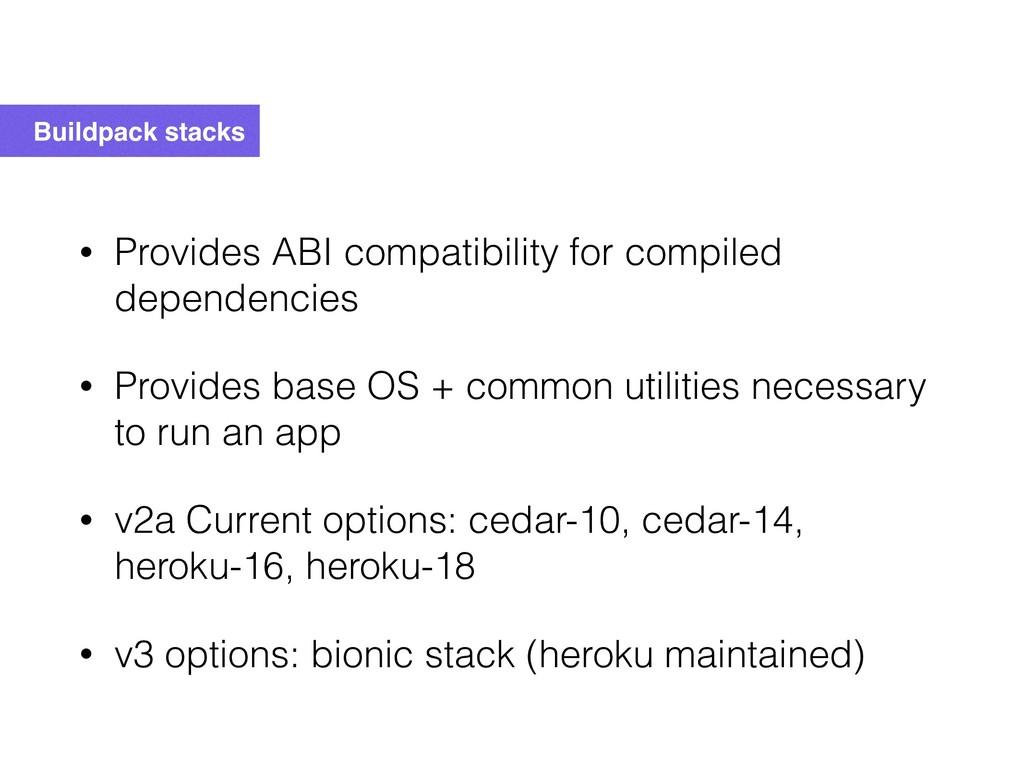 Buildpack stacks • Provides ABI compatibility f...