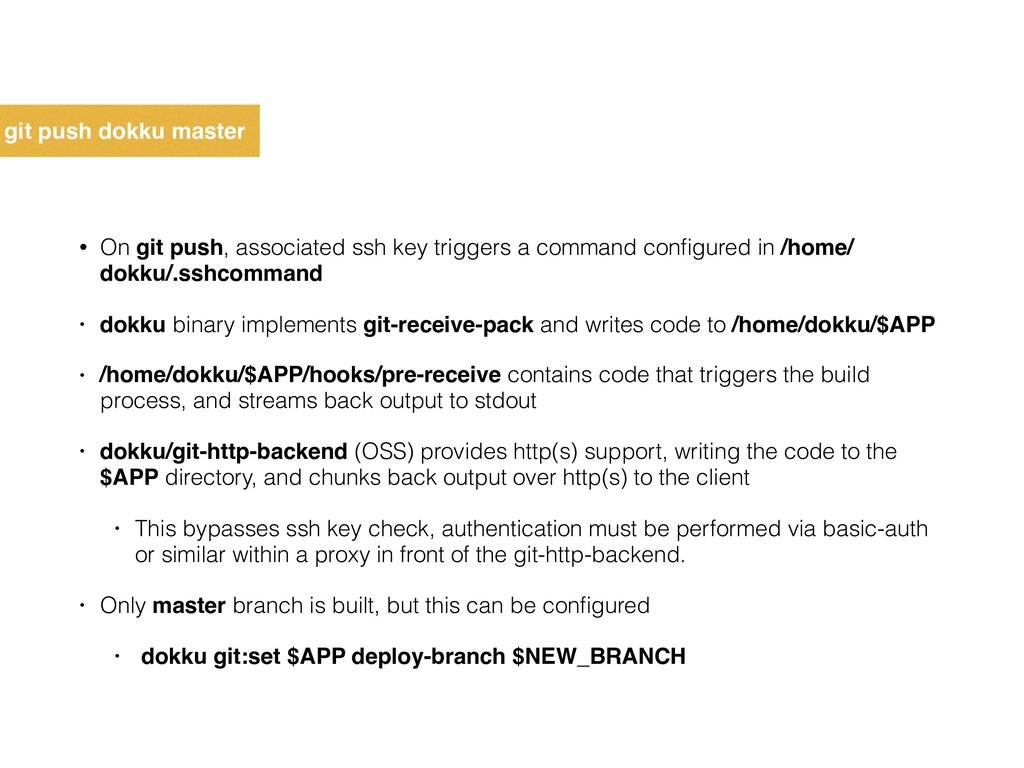 git push dokku master • On git push, associated...