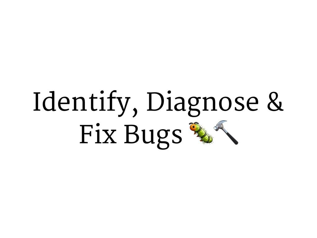 Identify, Diagnose & Fix Bugs ()