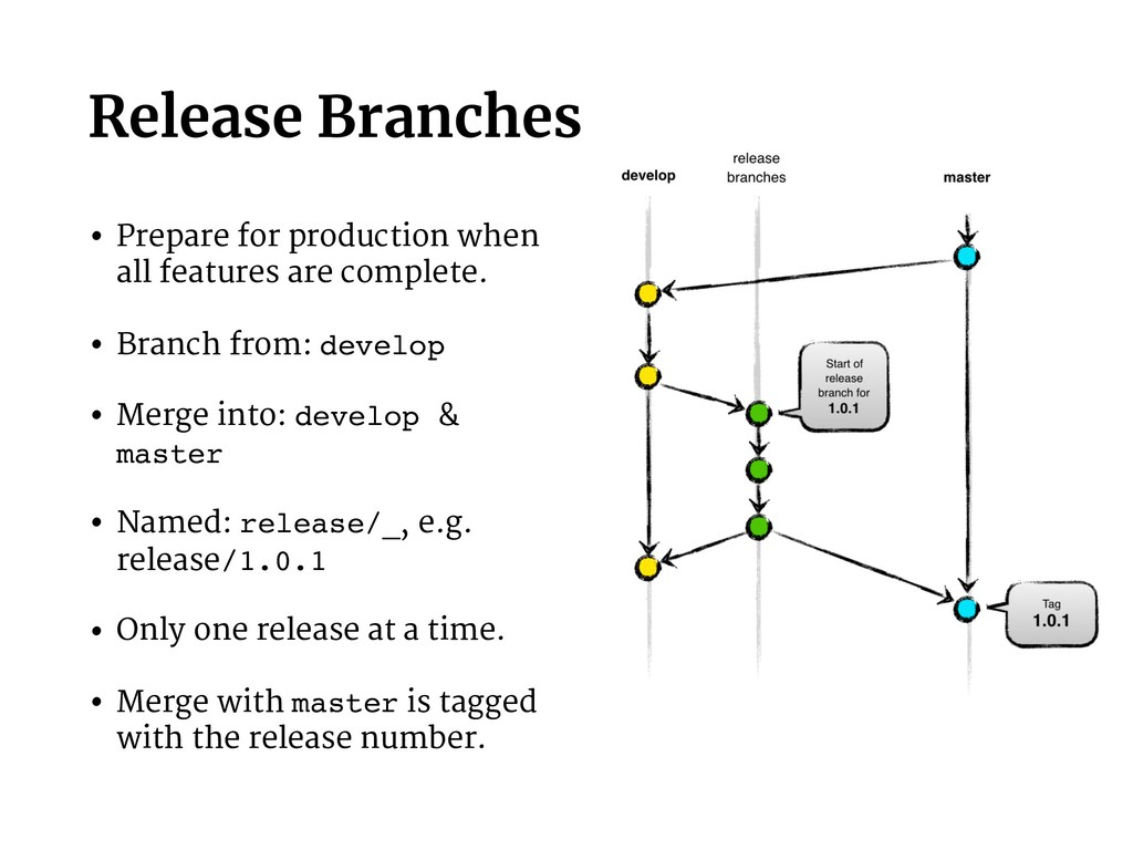 Release Branches • Prepare for production when ...