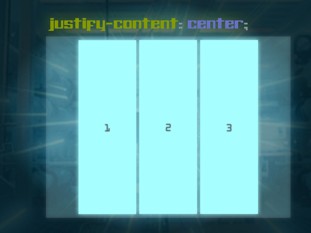 justify-content: center; 1 2 3