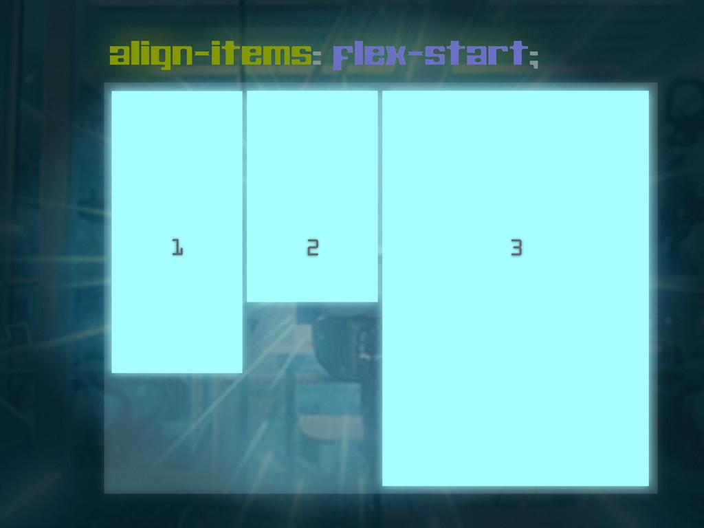 align-items: flex-start; 1 2 3