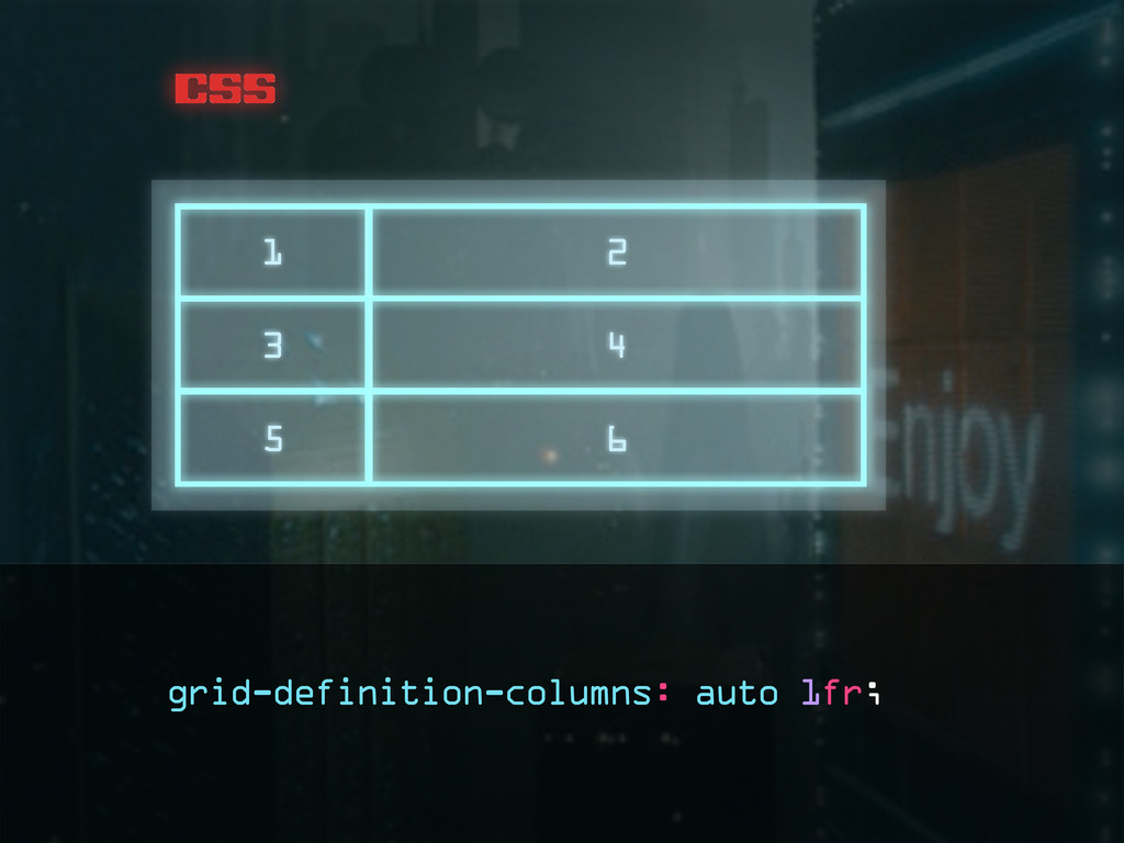css 1 2 3 4 5 6 grid-definition-columns: auto 1...