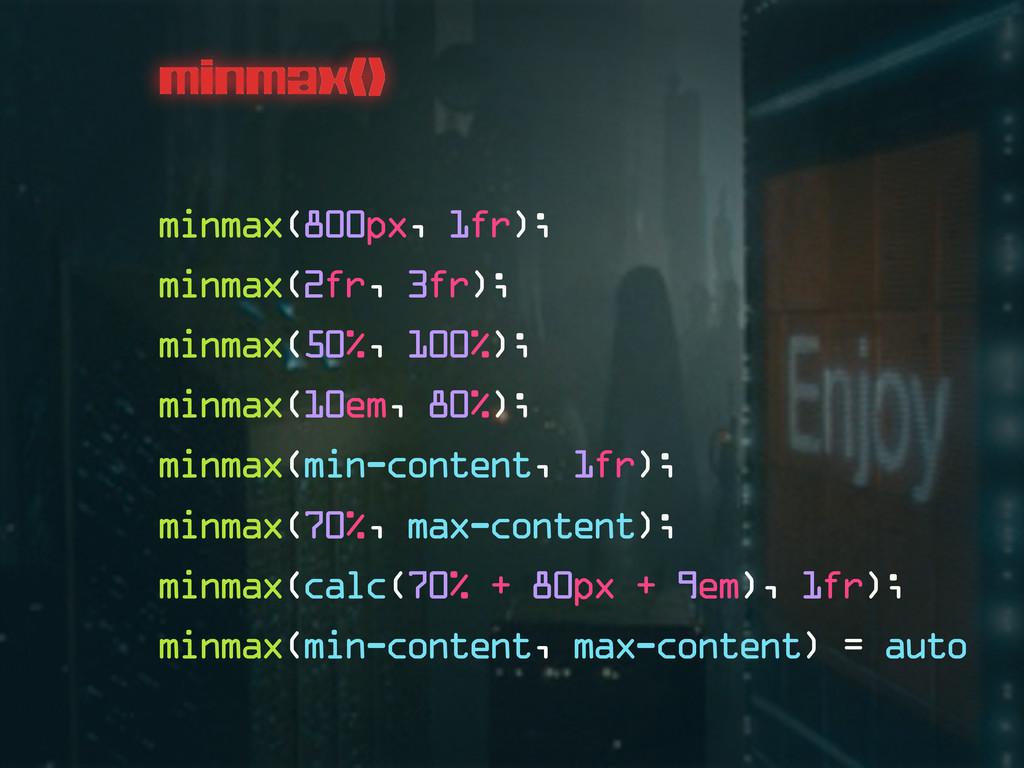 minmax() minmax(800px, 1fr); minmax(2fr, 3fr); ...