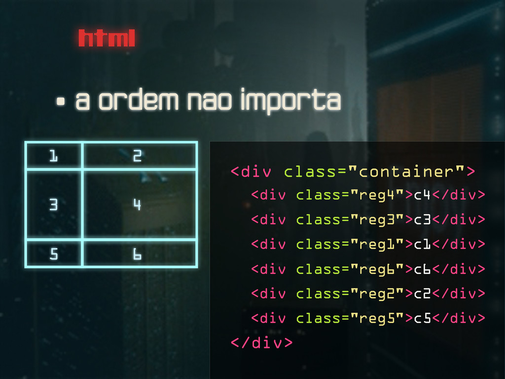 html • a ordem nao importa 1 2 3 4 5 6 <div cla...
