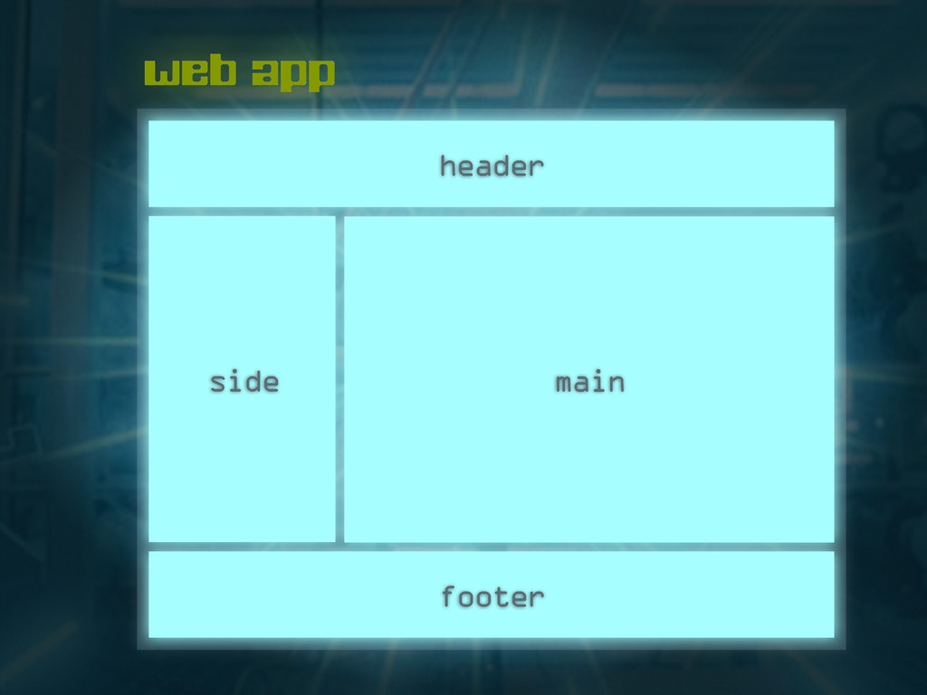 web app footer header side main