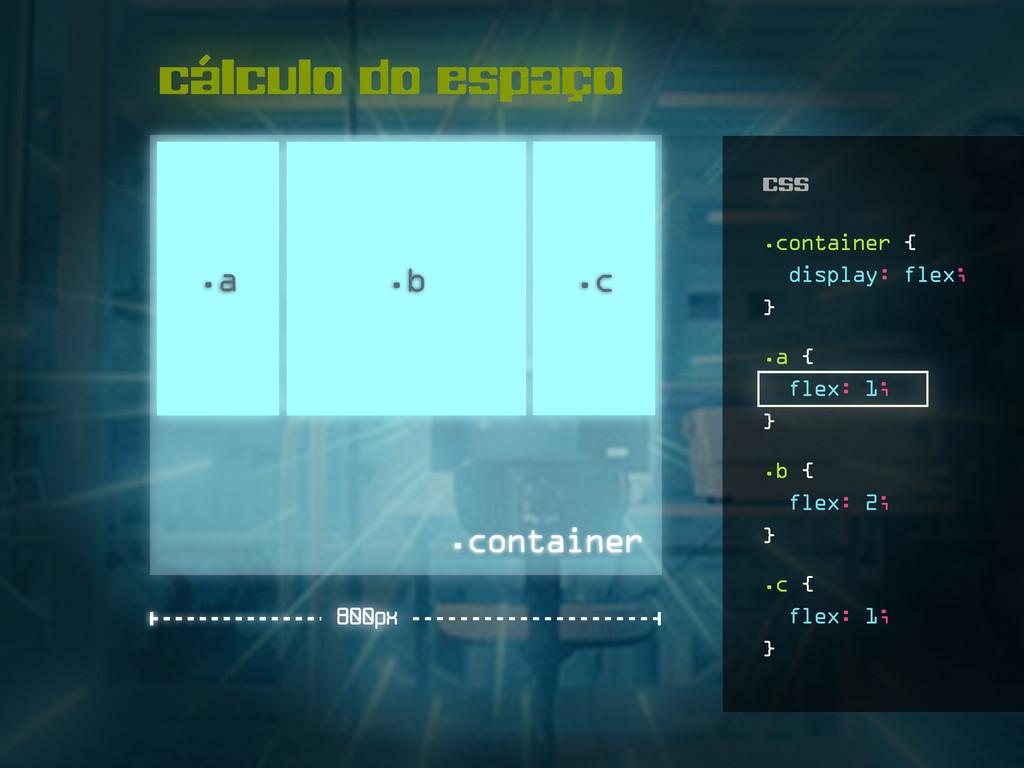 cálculo do espaço .a .b .container 800px .c .a ...