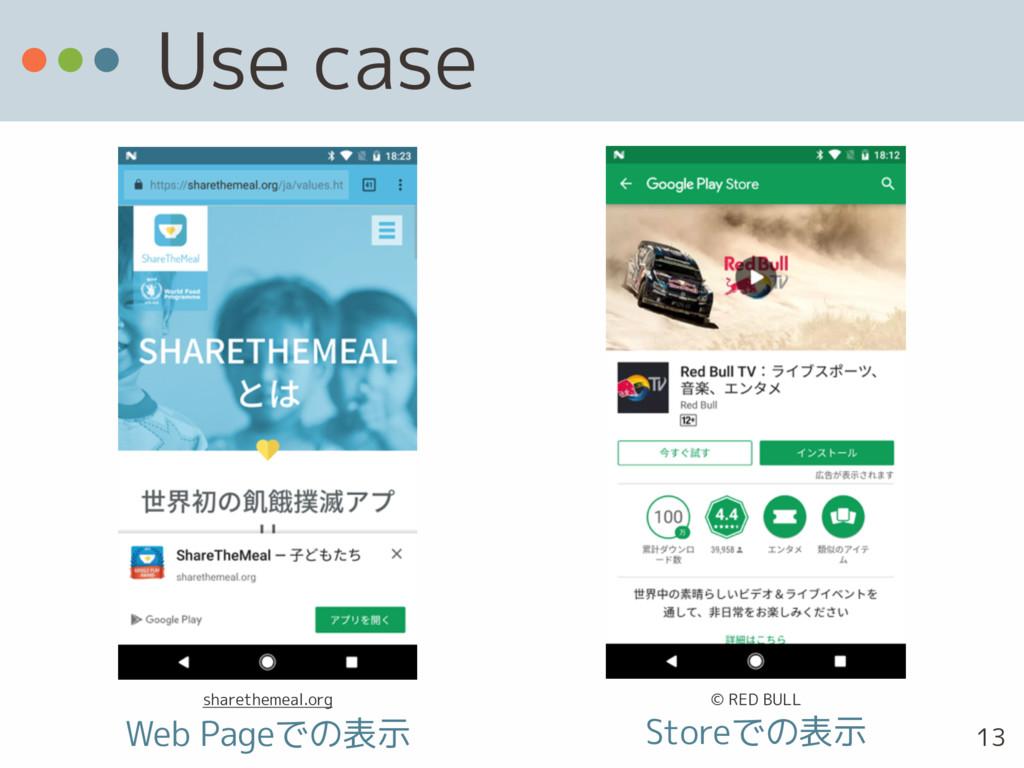 Use case Web Pageでの表示 Storeでの表示 13 sharethemeal...