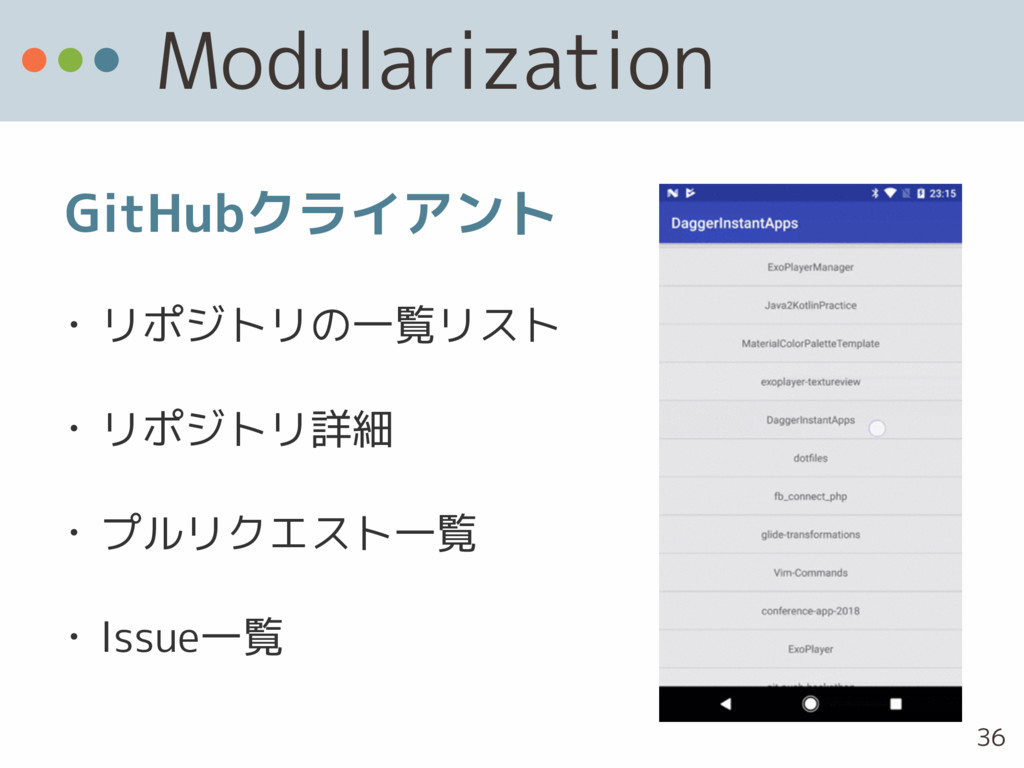 Modularization • リポジトリの一覧リスト • リポジトリ詳細 • プルリクエス...