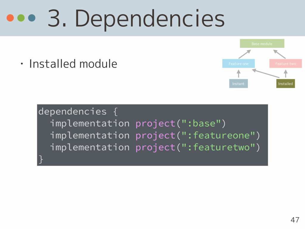 3. Dependencies • Installed module dependencies...