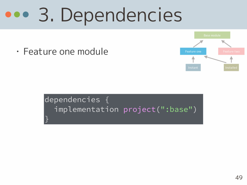 3. Dependencies • Feature one module dependenci...