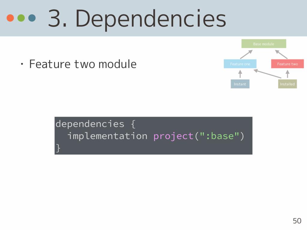 3. Dependencies • Feature two module dependenci...