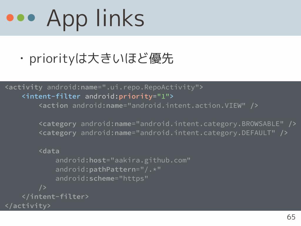 App links • priorityは大きいほど優先 <activity android:...