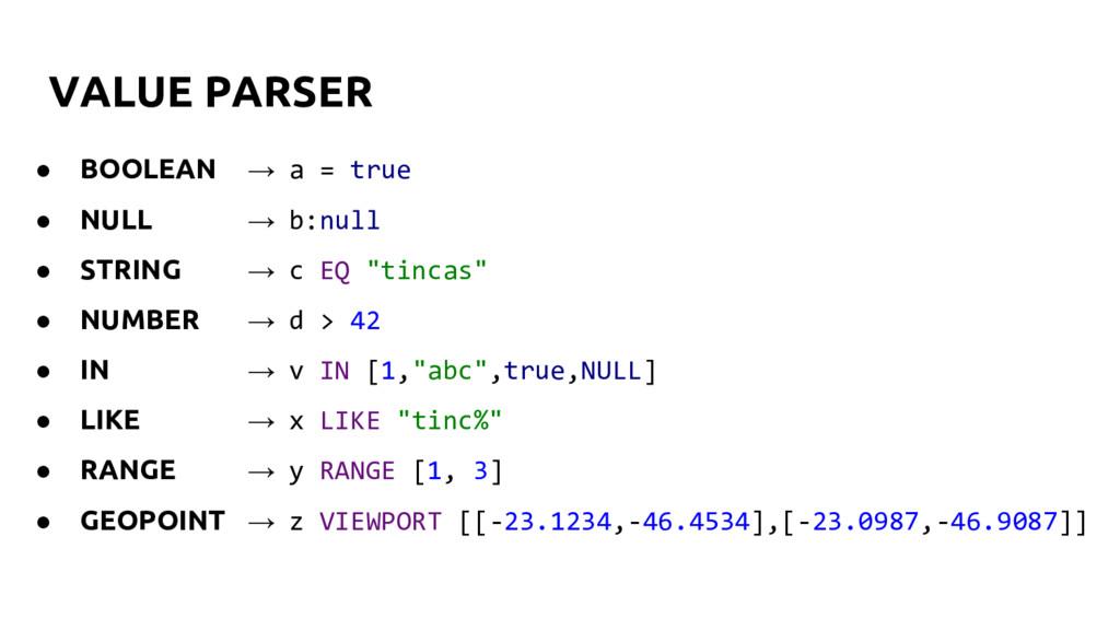 VALUE PARSER ● BOOLEAN → a = true ● NULL → b:nu...