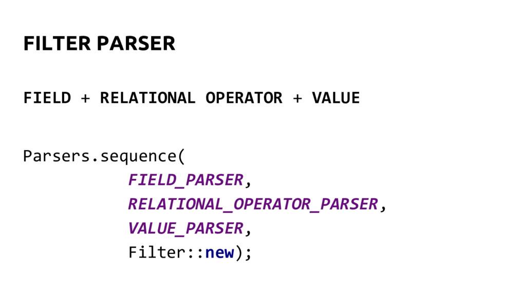 FILTER PARSER Parsers.sequence( FIELD_PARSER, R...