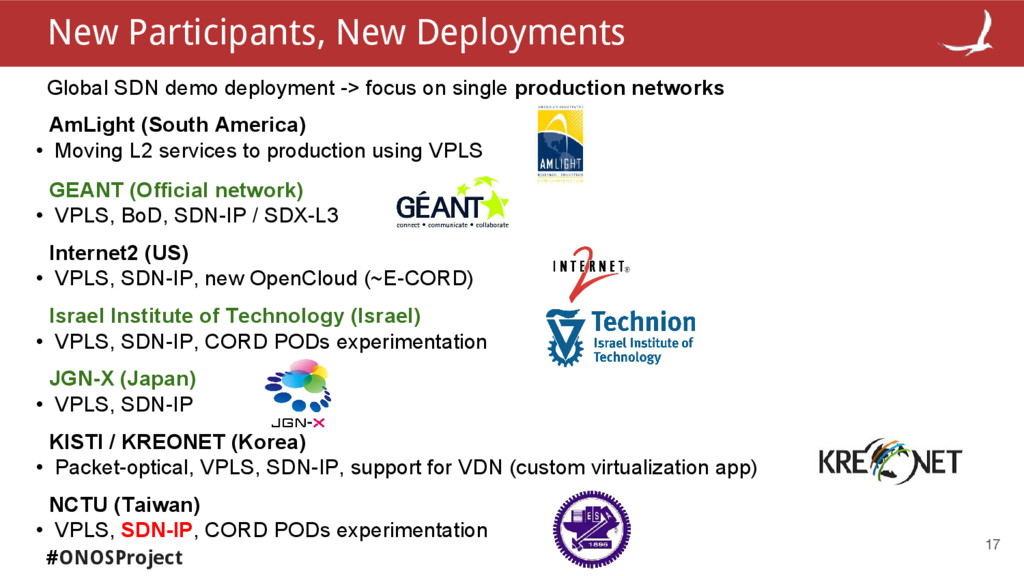 #ONOSProject 17 Global SDN demo deployment -> f...