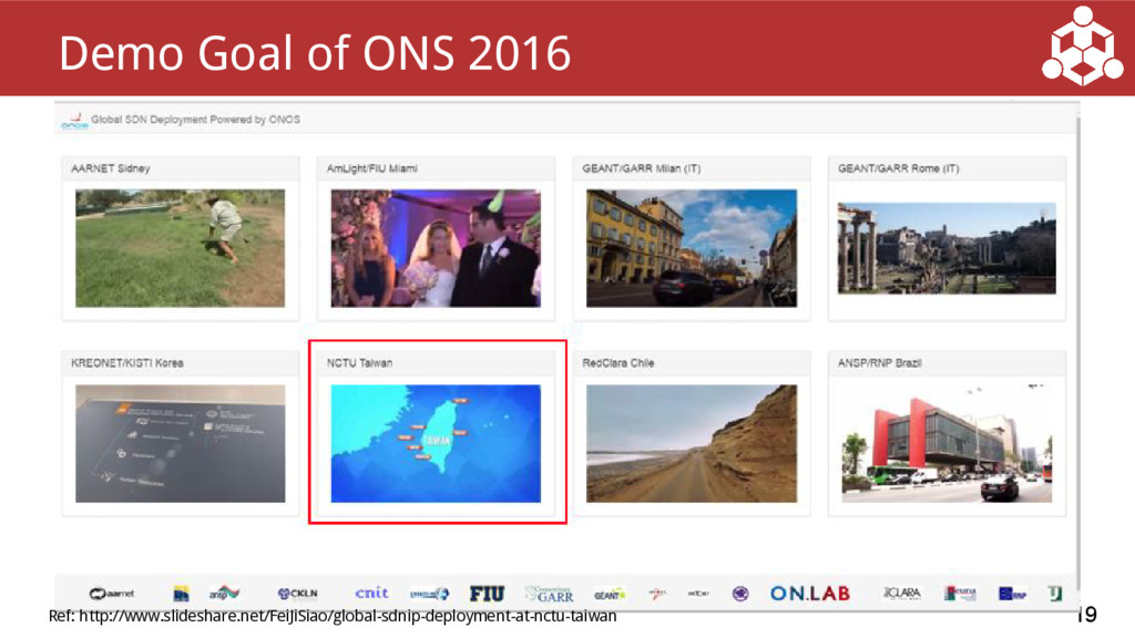 19 Demo Goal of ONS 2016 Ref: http://www.slides...
