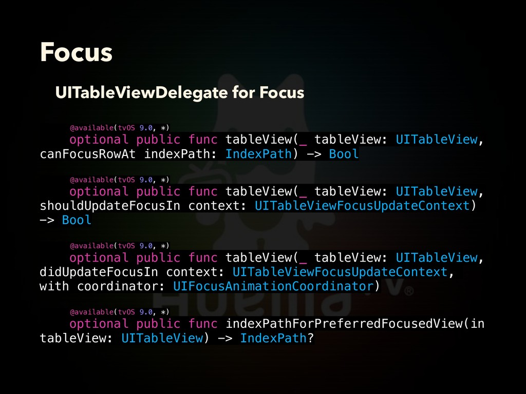 Focus UITableViewDelegate for Focus @available(...
