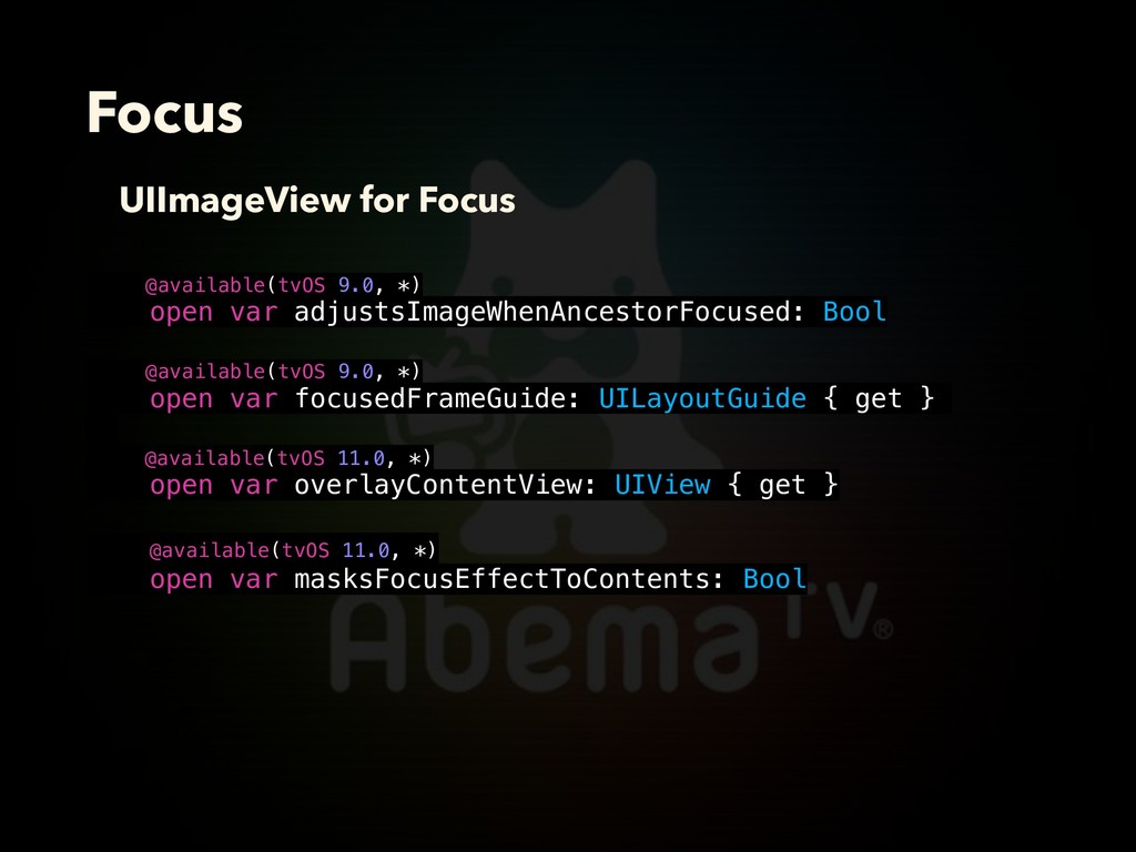 Focus @available(tvOS 9.0, *) open var adjustsI...