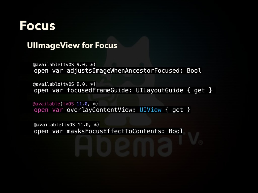 Focus UIImageView for Focus @available(tvOS 9.0...