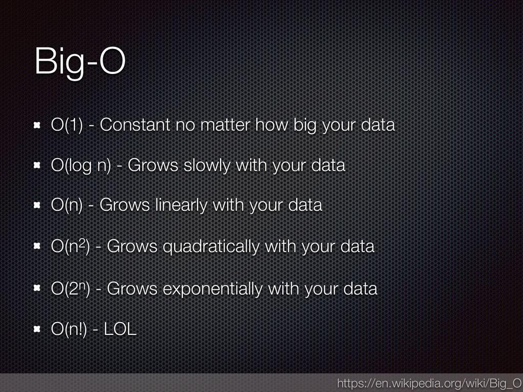 Big-O O(1) - Constant no matter how big your da...