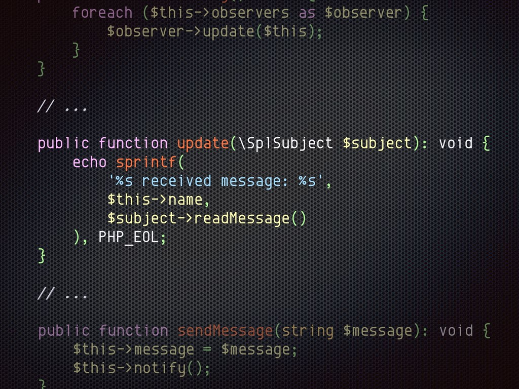 // ... public function sendMessage(string $mess...