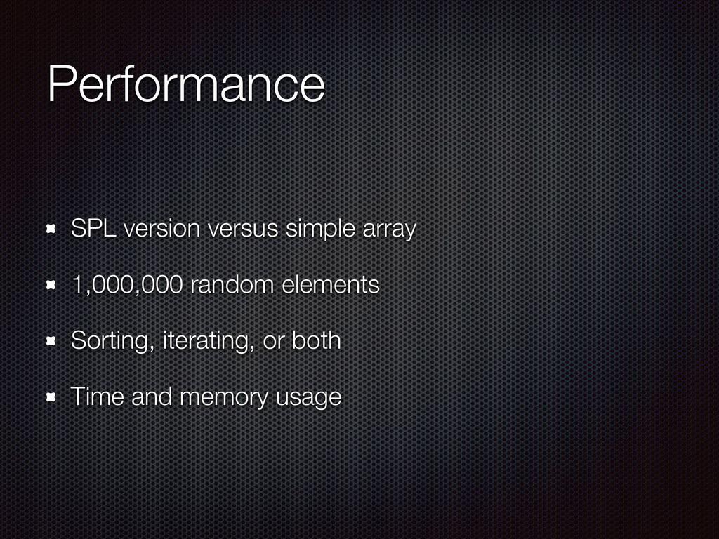 Performance SPL version versus simple array 1,0...
