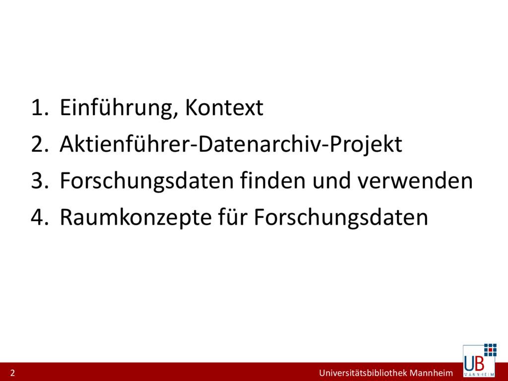 2 Universitätsbibliothek Mannheim 1. Einführung...