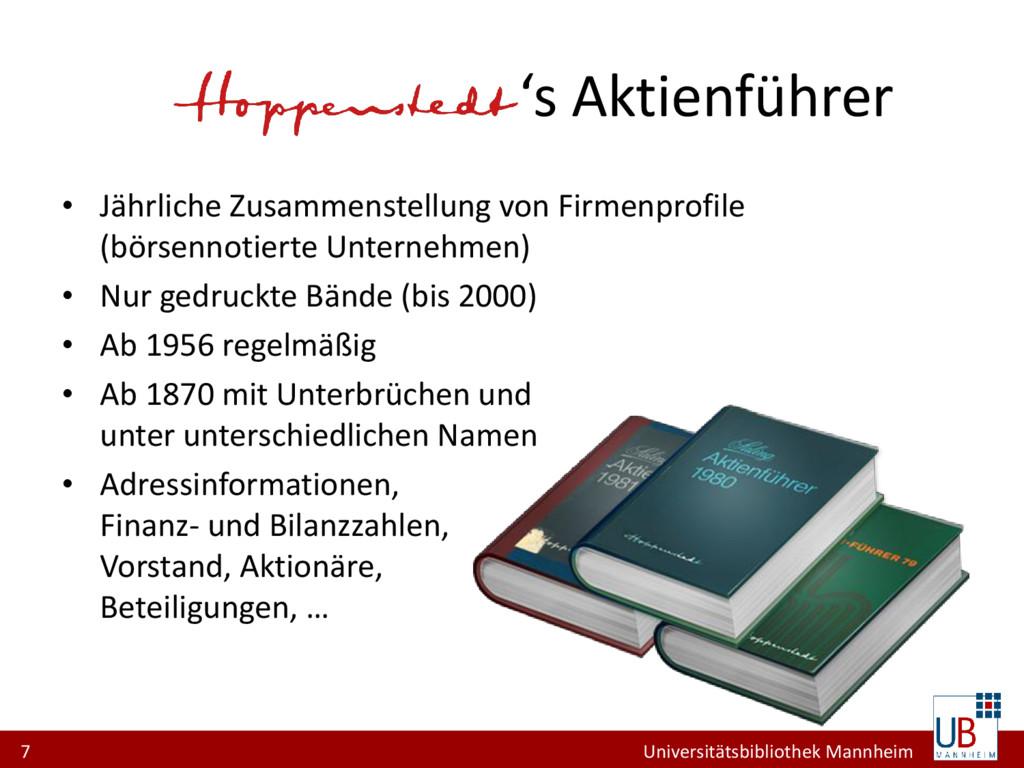 7 Universitätsbibliothek Mannheim Hoppenstedt's...