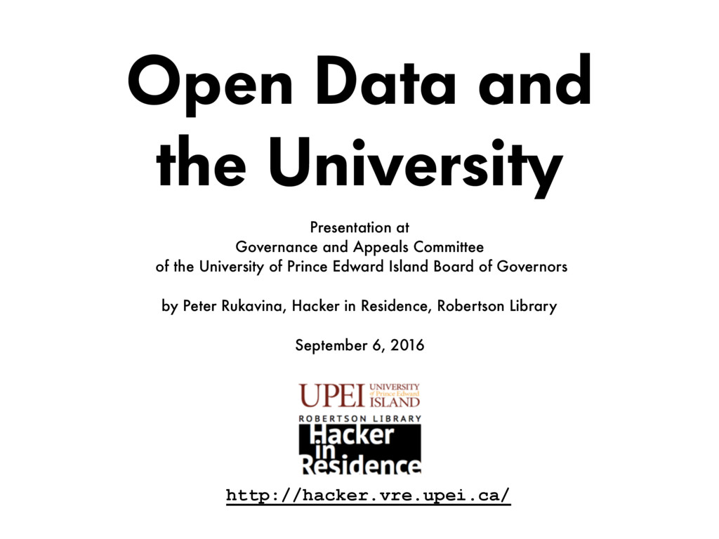 Open Data and  the University Presentation at ...
