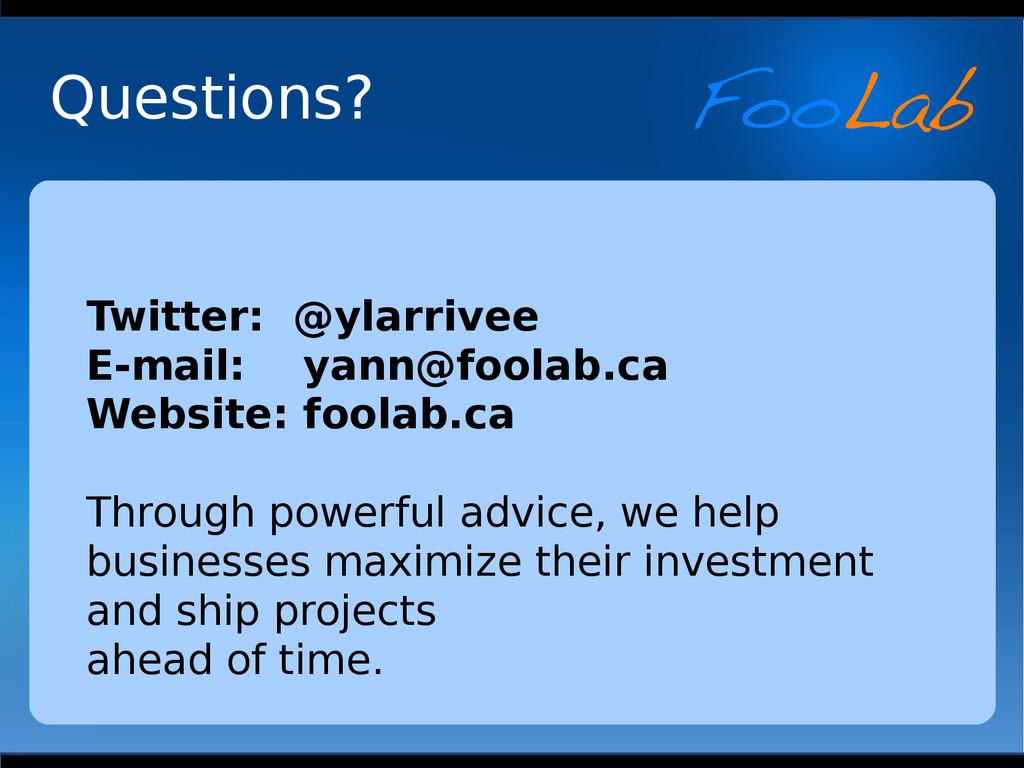 Twitter: @ylarrivee E-mail: yann@foolab.ca Webs...