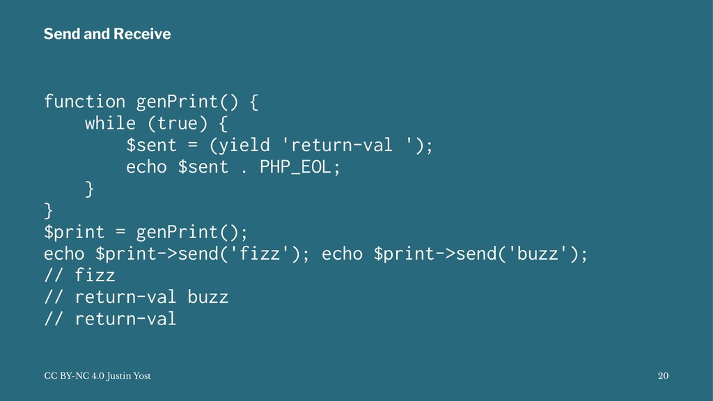 Send and Receive function genPrint() { while (t...
