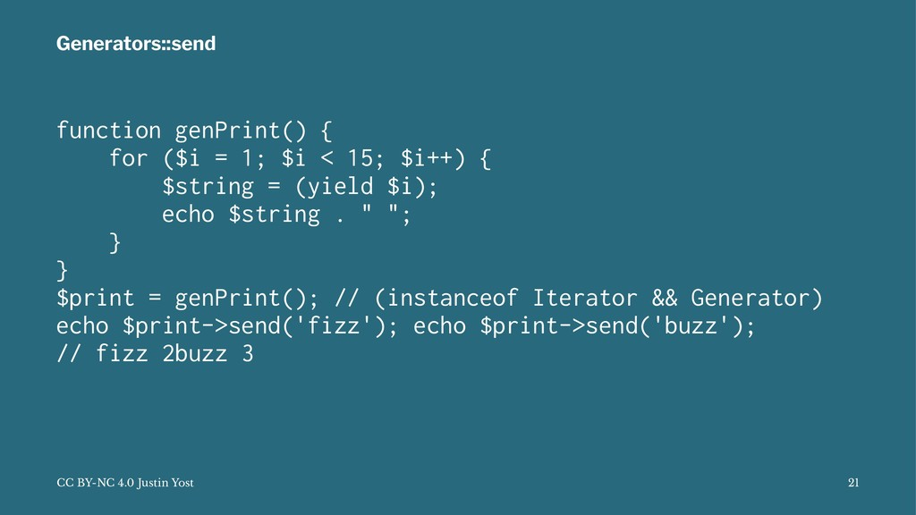 Generators::send function genPrint() { for ($i ...