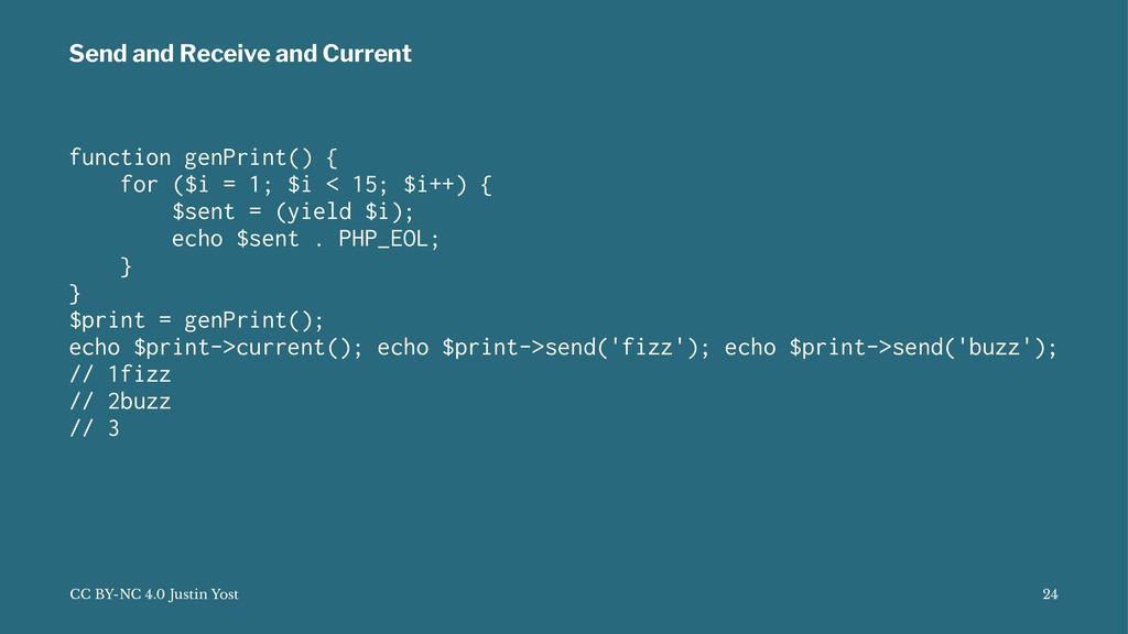 Send and Receive and Current function genPrint(...