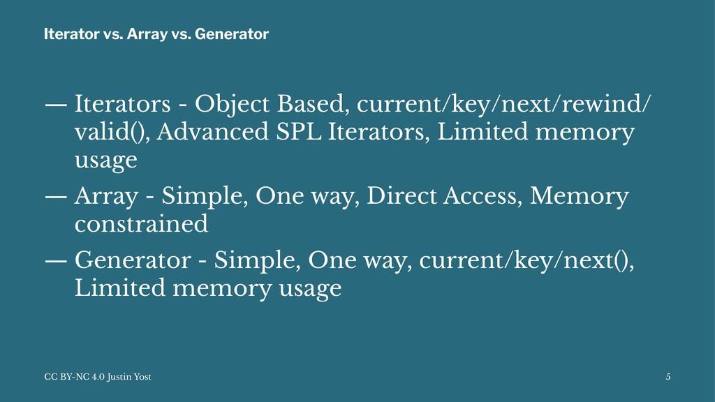 Iterator vs. Array vs. Generator — Iterators - ...