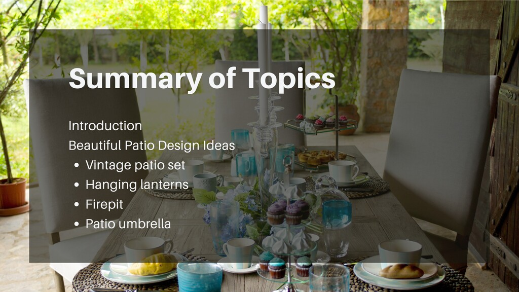 Summary of Topics Vintage patio set Hanging lan...
