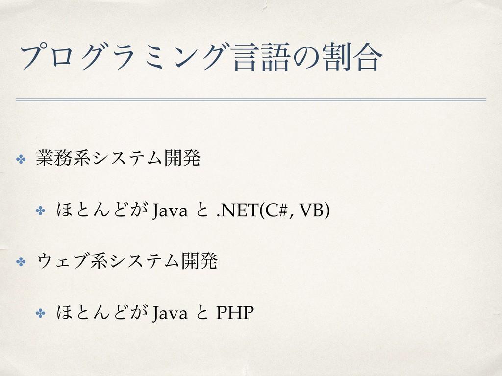 ϓϩάϥϛϯάݴޠͷׂ߹ ✤ ۀܥγεςϜ։ൃ ✤ ΄ͱΜͲ͕ Java ͱ .NET(C#...