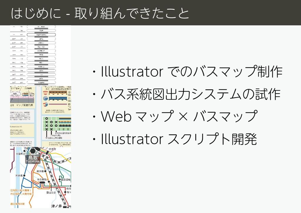 ・Illustrator でのバスマップ制作 ・バス系統図出力システムの試作 ・Web マップ...