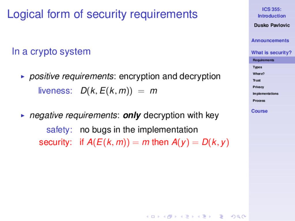 ICS 355: Introduction Dusko Pavlovic Announceme...