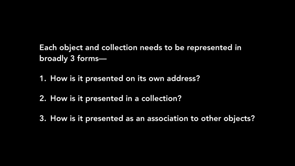Each object and collection needs to be represen...