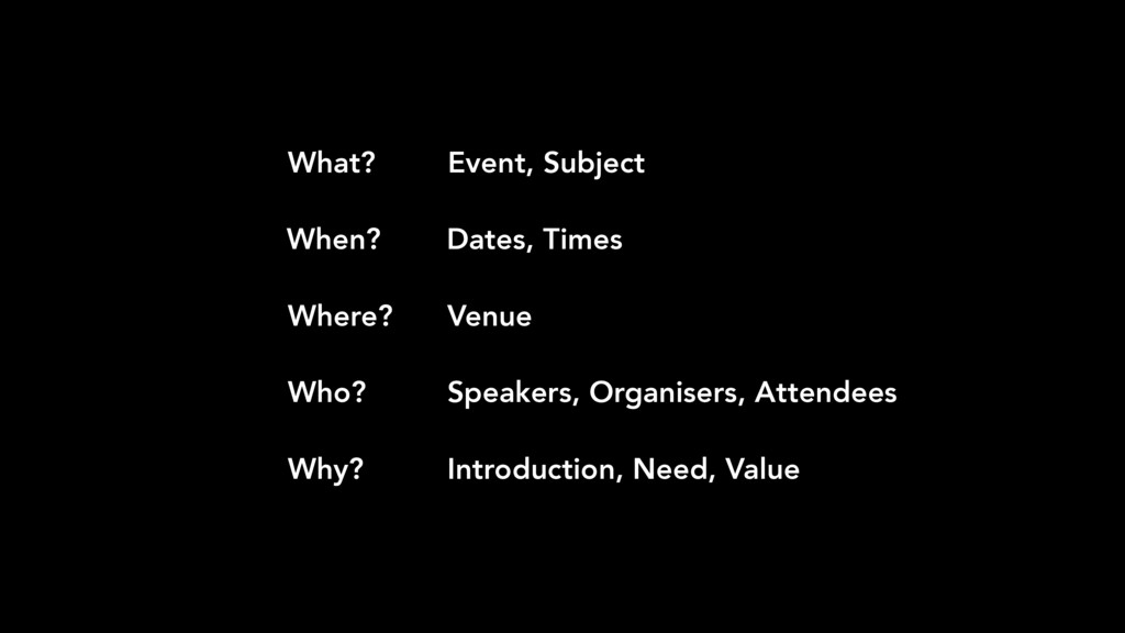 Event, Subject Dates, Times Venue Speakers, Org...