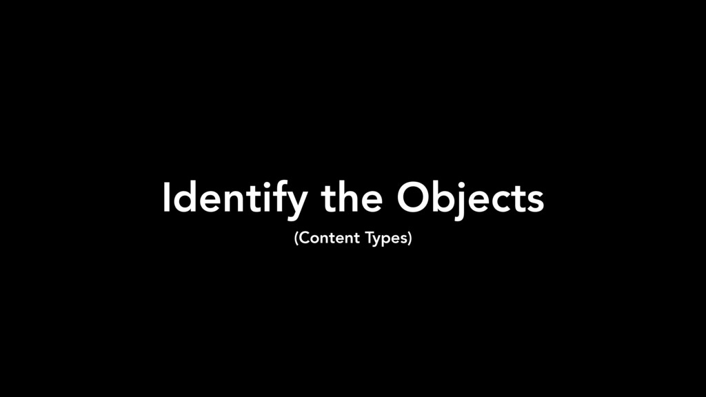 Identify the Objects (Content Types)