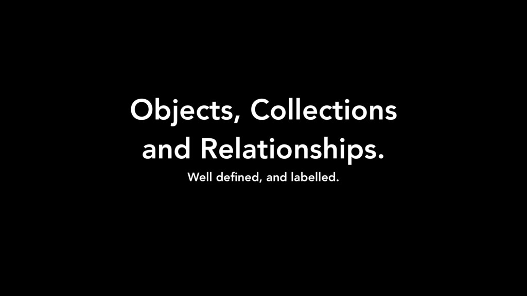 Objects, Collections and Relationships. Well de...