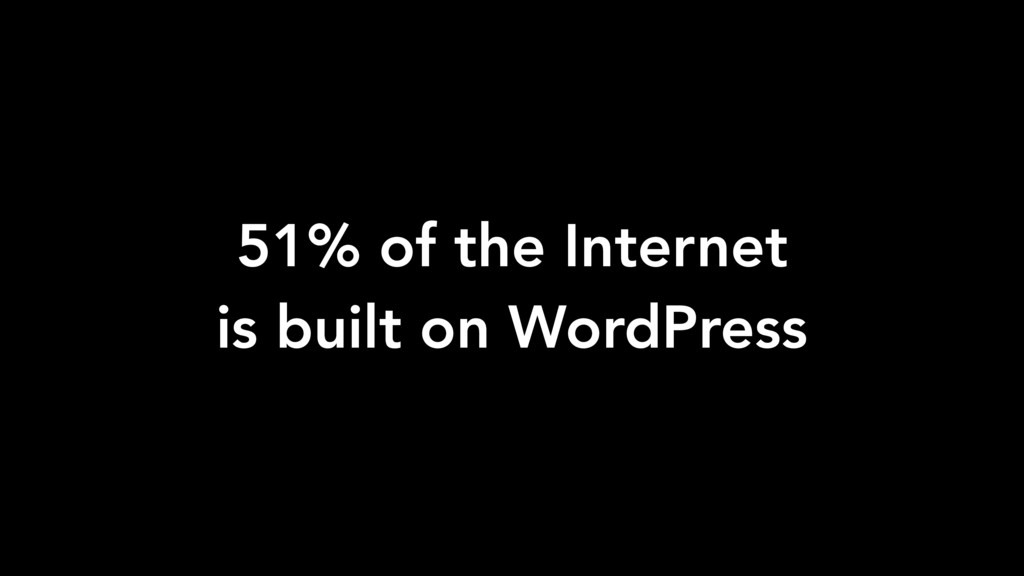 51% of the Internet is built on WordPress