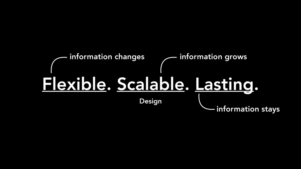 Flexible. Scalable. Lasting. Design information...