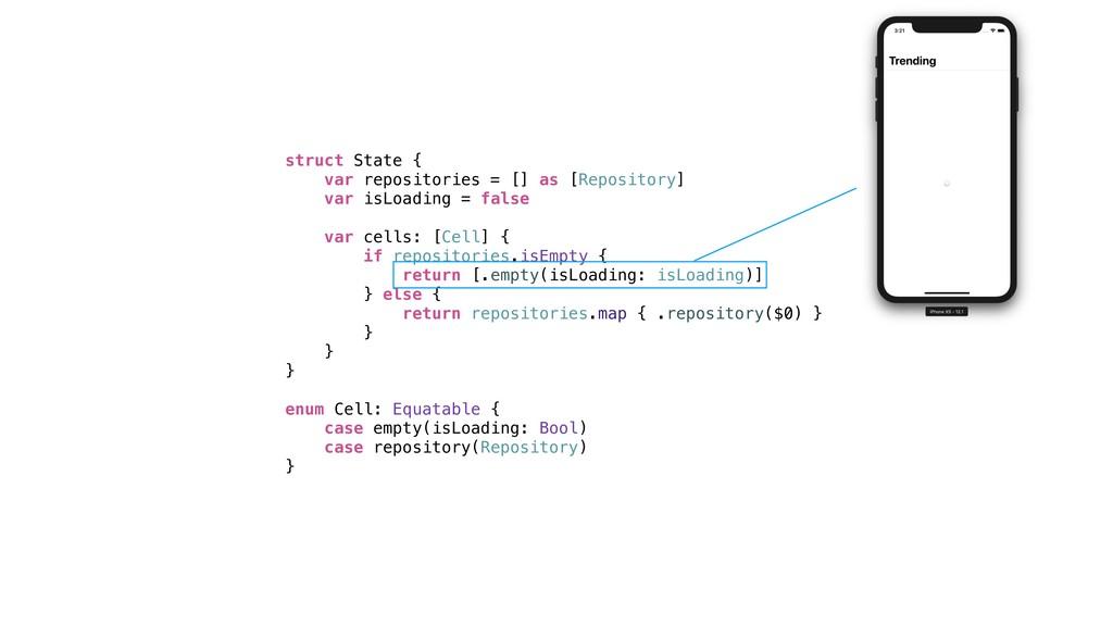 struct State { var repositories = [] as [Reposi...