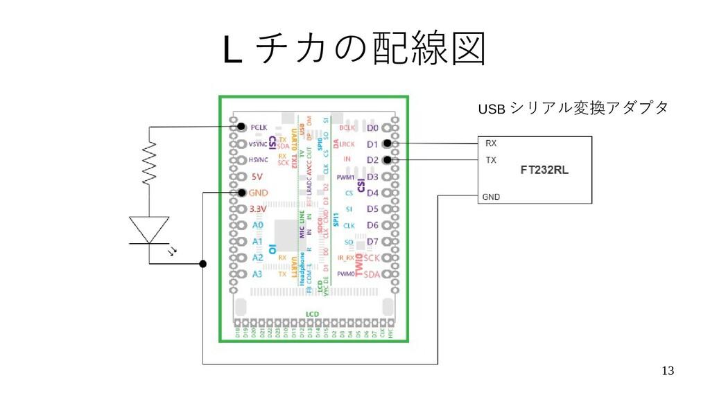 13 L チカの配線図 USB シリアル変換アダプタ