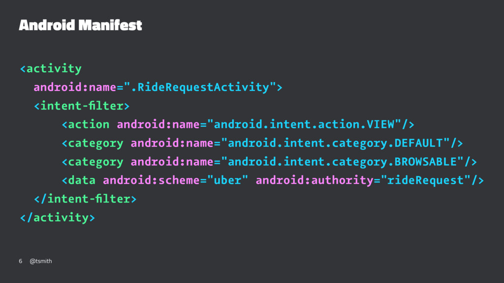 "Android Manifest <activity android:name="".RideR..."